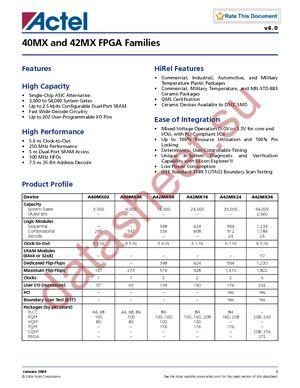 A42MX09-VQG100 datasheet скачать даташит