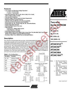 AT24C08-10TI-2.7 datasheet скачать даташит