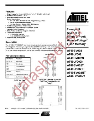 AT49LV002-90VC datasheet скачать даташит