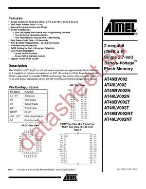 AT49LV002NT-90JC datasheet скачать даташит