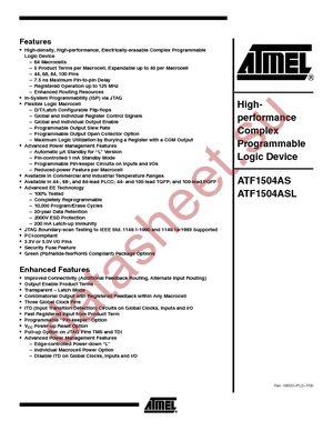 ATF1504AS-15JI68 datasheet скачать даташит