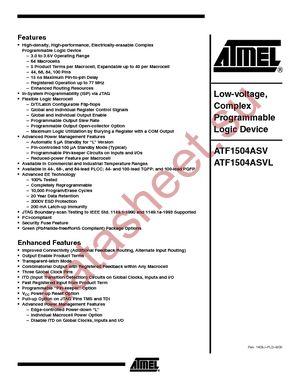 ATF1504ASV-15JI44 datasheet скачать даташит