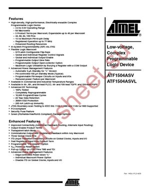 ATF1504ASVL-20JC68 datasheet скачать даташит