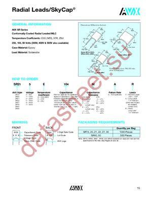SR151A471FAT datasheet скачать даташит