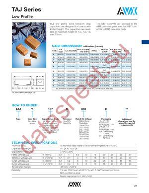 TAJB226K016H datasheet скачать даташит