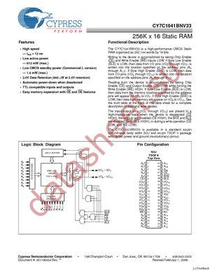CY7C1041CV33-20ZSXET datasheet скачать даташит