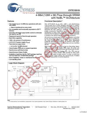 CY7C1351G-133AXC datasheet скачать даташит