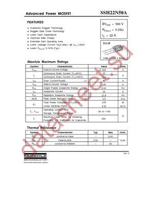 Datasheet) ssh22n50a pdf $gydqfhg 3rzhu 026)(7 ssh22n50a.