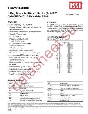 IS42S16400D-7TL datasheet скачать даташит