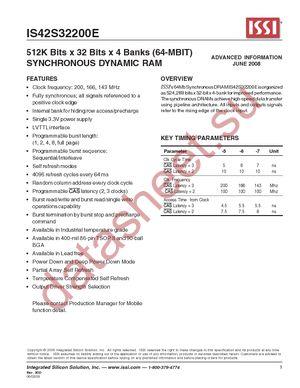 IS42S32200E-7TL datasheet скачать даташит