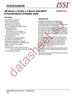 IS42S32800B-7TL datasheet скачать даташит