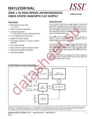 IS61LV25616AL-10BLI datasheet скачать даташит