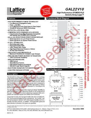 GAL22V10D-15LJNI datasheet скачать даташит