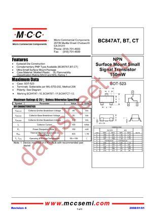 BC847BT-TP datasheet скачать даташит