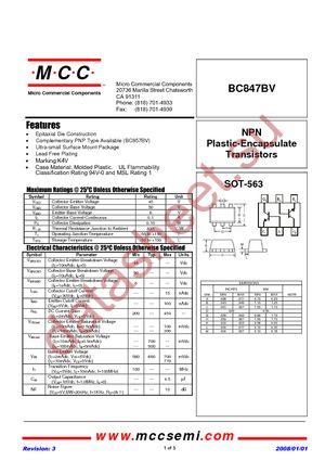 BC847BV-TP datasheet скачать даташит