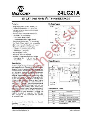 24LC21A/P datasheet скачать даташит
