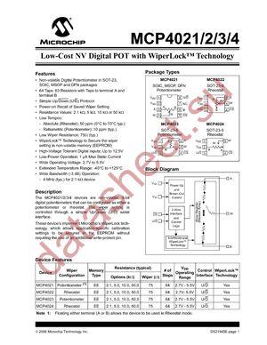 MCP4021-103E/MS datasheet скачать даташит