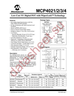 MCP4021-503E/MS datasheet скачать даташит