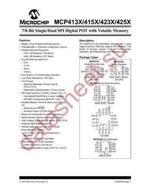 MCP4152-502E/P datasheet скачать даташит