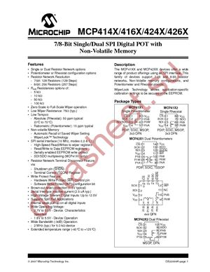 MCP4162-502E/SN datasheet скачать даташит
