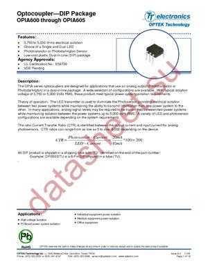OPIA602ATR datasheet скачать даташит