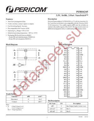 PI3B16245AE datasheet скачать даташит