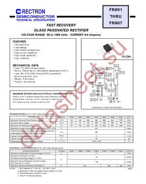 FR805 datasheet скачать даташит