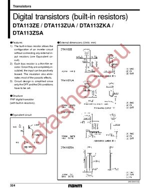 DTA113ZSATP datasheet скачать даташит