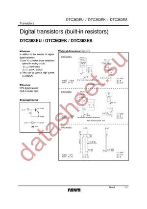DTC363EKT146 datasheet скачать даташит