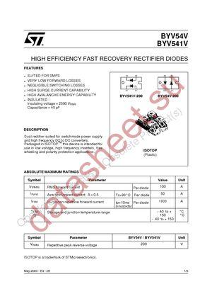 BYV541V-200 datasheet скачать даташит