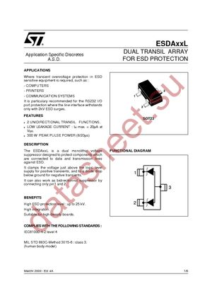 Esda5v3l datasheet(pdf) stmicroelectronics.