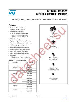 M24C01-WDW6TP datasheet скачать даташит