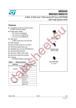 M95010-WDW6TP datasheet скачать даташит