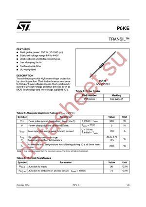 P6KE250ARL datasheet скачать даташит