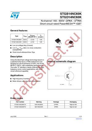 STGD14NC60KT4 datasheet скачать даташит