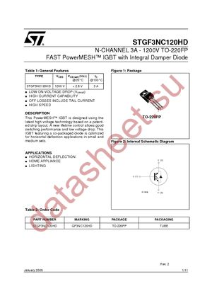 STGF3NC120HD datasheet скачать даташит