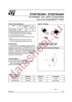 STGP7NC60H datasheet скачать даташит