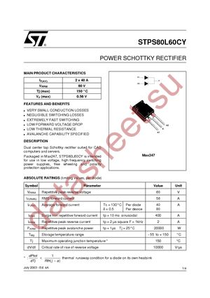 Stps80l60cy даташит st microelectronics техническое описание.