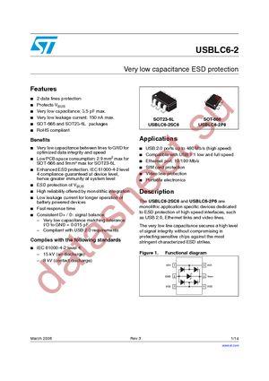 USBLC6-2SC6 datasheet скачать даташит