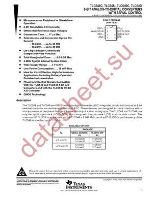 Tlc549ip datasheet, pinout,application circuits 8-bit, 40 ksps.