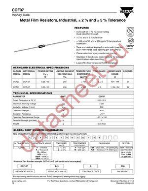 CCF0720R0JKR36 datasheet скачать даташит
