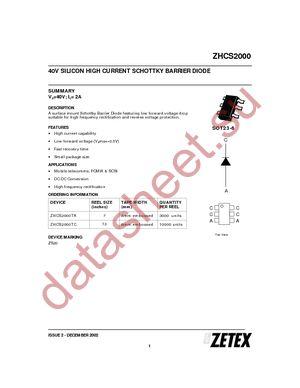ZHCS2000TA datasheet скачать даташит