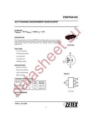 ZXMP4A16GTA datasheet скачать даташит