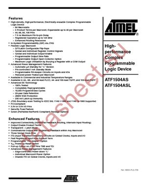 ATF1504AS-15JI84 datasheet скачать даташит