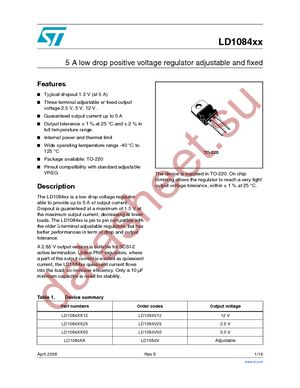 LD1084V datasheet скачать даташит
