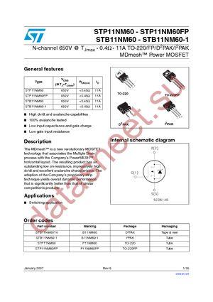 STB11NM60-1 datasheet скачать даташит